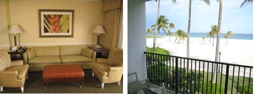 Lago Mar living room and balcony view of beach
