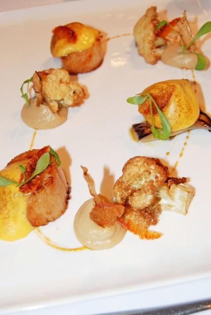 Main Course of Seared Maine Scallops at Laurie Raphael