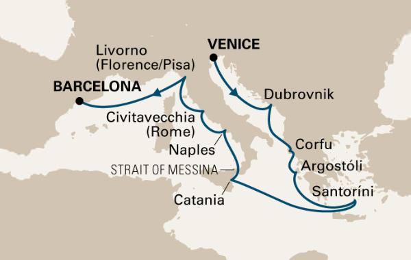 Holland America Line's Nieuw Amsterdam Mediterranean Romance Cruise Itinerary
