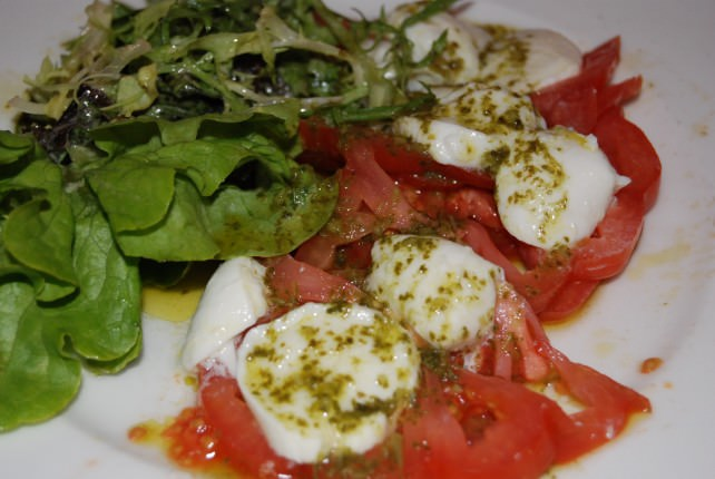 Globus Welcome Dinner at Chez Bruno - Tomato, Mozzarella and Pesto Salad