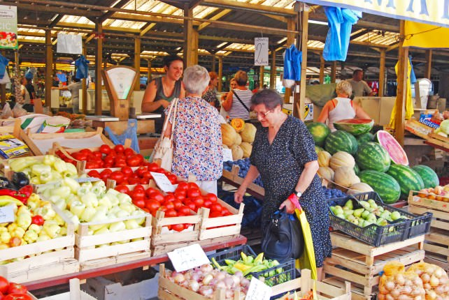 Daily Outdoor Market in Vukovar, Croatia