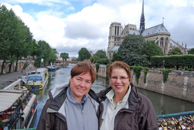 Viv and Jill in Paris with Globus