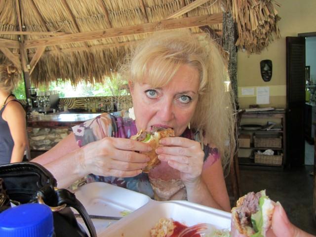 Eating an Ostrich Burger