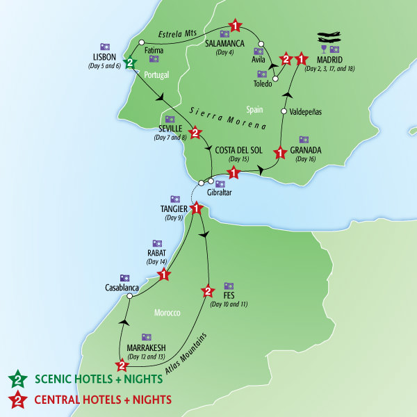 Detailed Map Of Spain Portugal And Morocco.Vacation Packages To Spain Portugal And Morocco Joshymomo Org