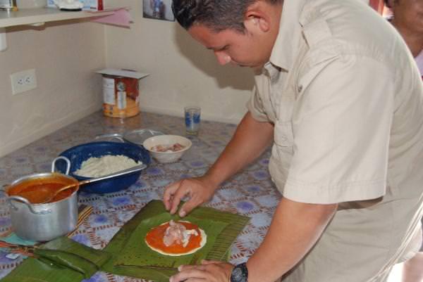 Making Tamales in Lamanai Village