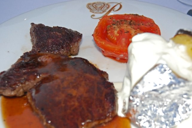 Grilled Steak with Baked Potato and Grilled Tomato