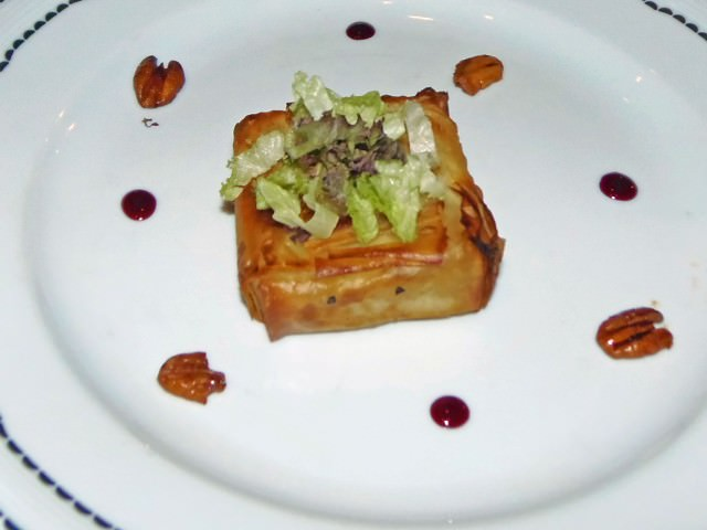Phyllo Baked Anjou Pear with Roquefort Cheese