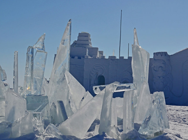 Ice Sculptures By The Castle In Yellowknife