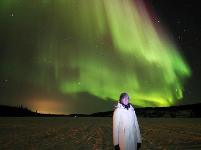 Jill Philipchuk In Front Of The Aurora Borealis