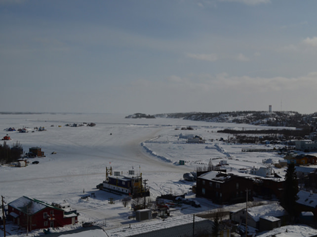 Looking From Old Town Over Great Slave Lake Towards Downtown Yellowknife