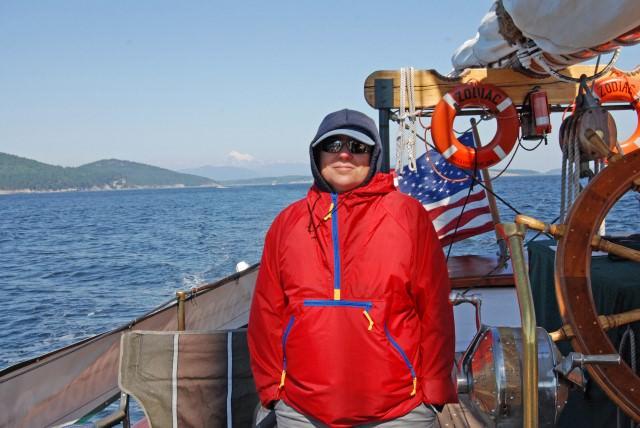 Viv on messenger station aboard Schooner Zodiac