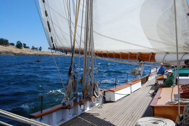 Schooner Zodiac Sails Past Spieden Island in the San Juans.