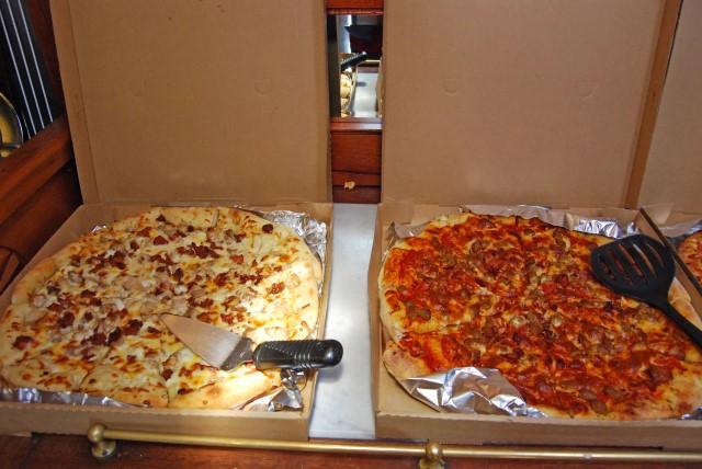 Freshly-made pizza for lunch on Schooner Zodiac
