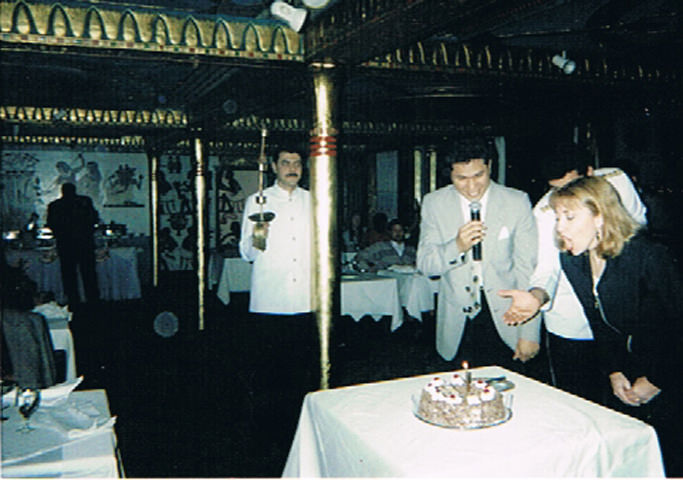 Patti Morrow celebrates her birthday on a luxury dinner cruise on the River Nile.