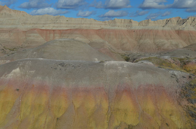 Badlands in South Dakota - Layers of colorful striations