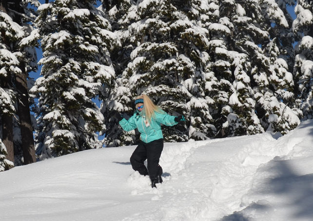 Running down the hill in snowshoes turned out to be fun!