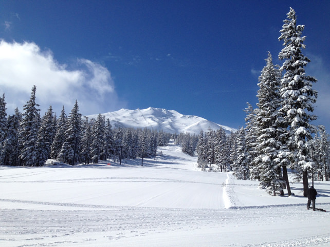 Mt. Bachelor covered in snow is a stunning backdrop