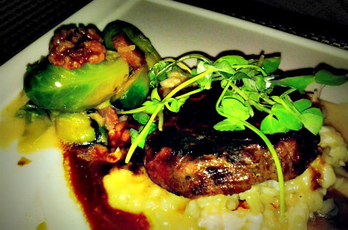 Bimini Steakhouse - Petit Filet with Lobster Risotto and Brussel Sprouts