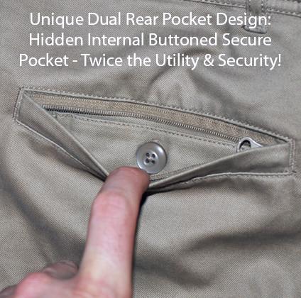 Clothing Arts Business Traveler Pants Rear Hidden Pockets
