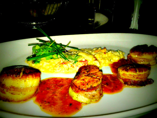 Pancetta Wrapped Scallops with Lobster-Asparagus Risotto