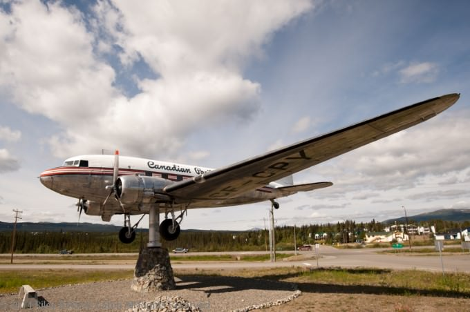 DC-3 airplane at Yukon Transportation Museum in Whitehorse