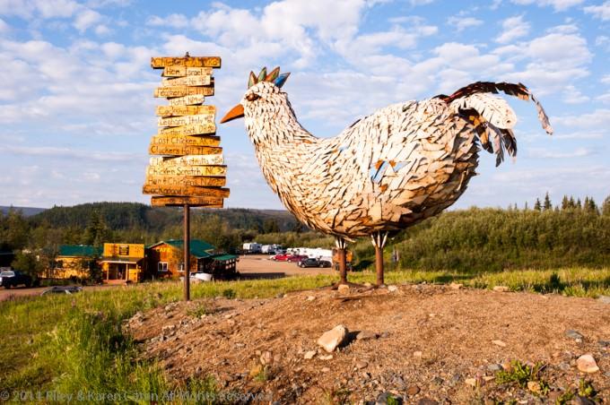 Chicken sculpture overlooking the Chicken Gold Camp & Outpost in Chicken, Alaska.