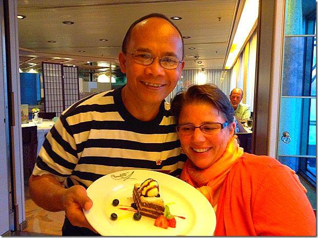Jai serves Jill Mille-Feuille of Madagascar Chocolate
