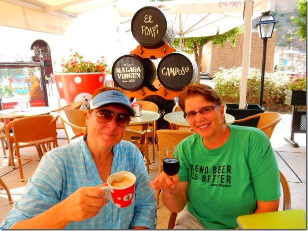 Viv and Jill at El Pimpi in Malaga, Spain