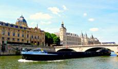 Barge on River Seine in Paris