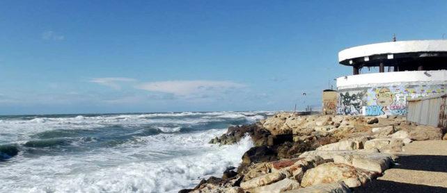 The abandoned Dolphinarium on the Tel Aviv Promenade