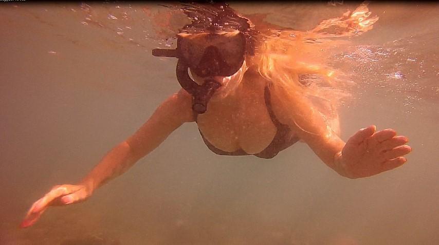 Patti Morrow Snorkeling at Hanauma Bay, Hawaii