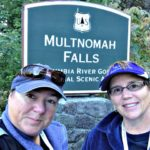 Viv and Jill at Multnomah Falls with Un-Cruise Adventures