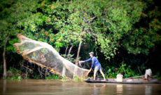 Fisherman on the Mekong River in Vietnam