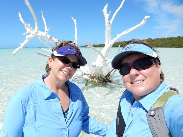 Jill and Viv on Harbour Island, Bahamas