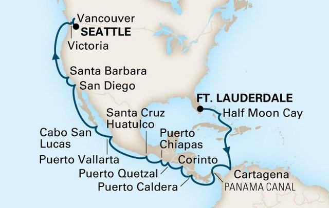 Holland America Line - Panama Canal Map