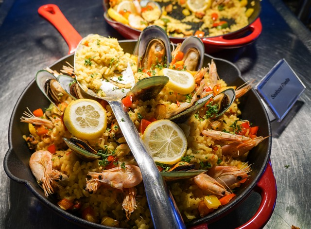 Seafood Paella in the Conservatory Buffet