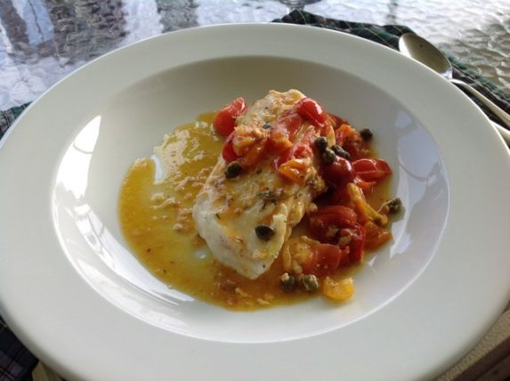 Cape Breton - Chanterelle Inn - Halibut en Cocotte with Roasted Garlic and Cherry Tomatoes