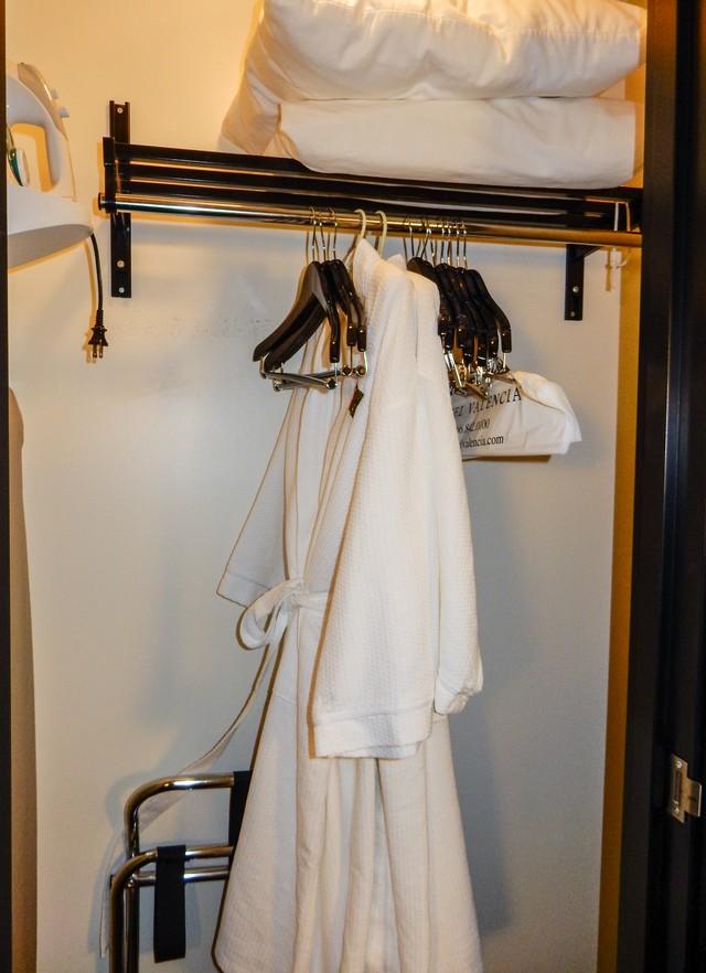 Wooden Hangers, Bathrobes, Extra Luggage Rack, Iron.