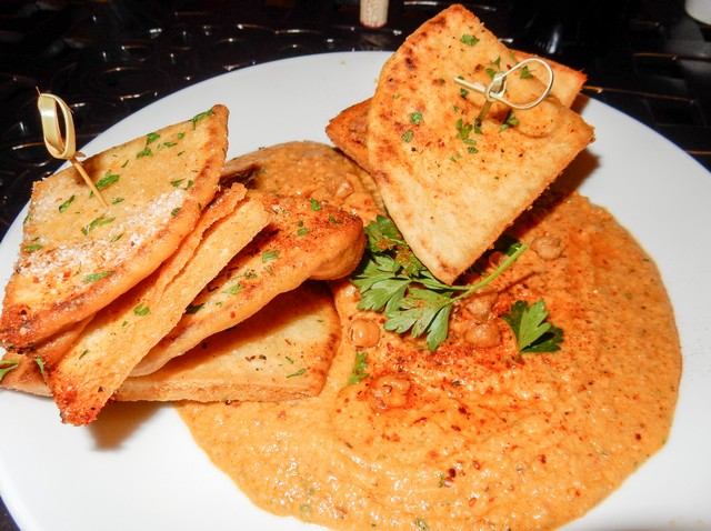 Harissa Spiced Hummus with Toasted Chickpeas and Pita Bread Toasts