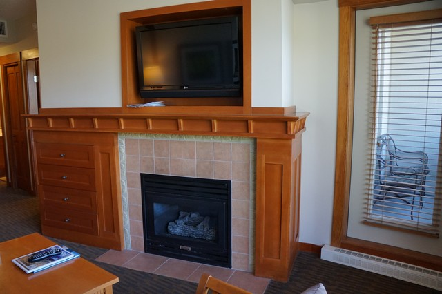 Fireplace in our 1-bedroom suite at Pan Pacific Whistler Mountainside