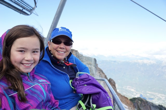 Jada and Jill on the chairlift to Whistler Summit