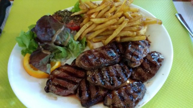 Les Trois Ours (3 Bears) Bistro - Duck Breast and Fries.