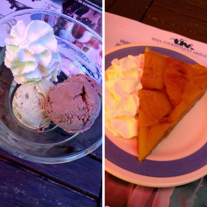 Dessert of Ice Cream Sundae and Tarte Tatin.
