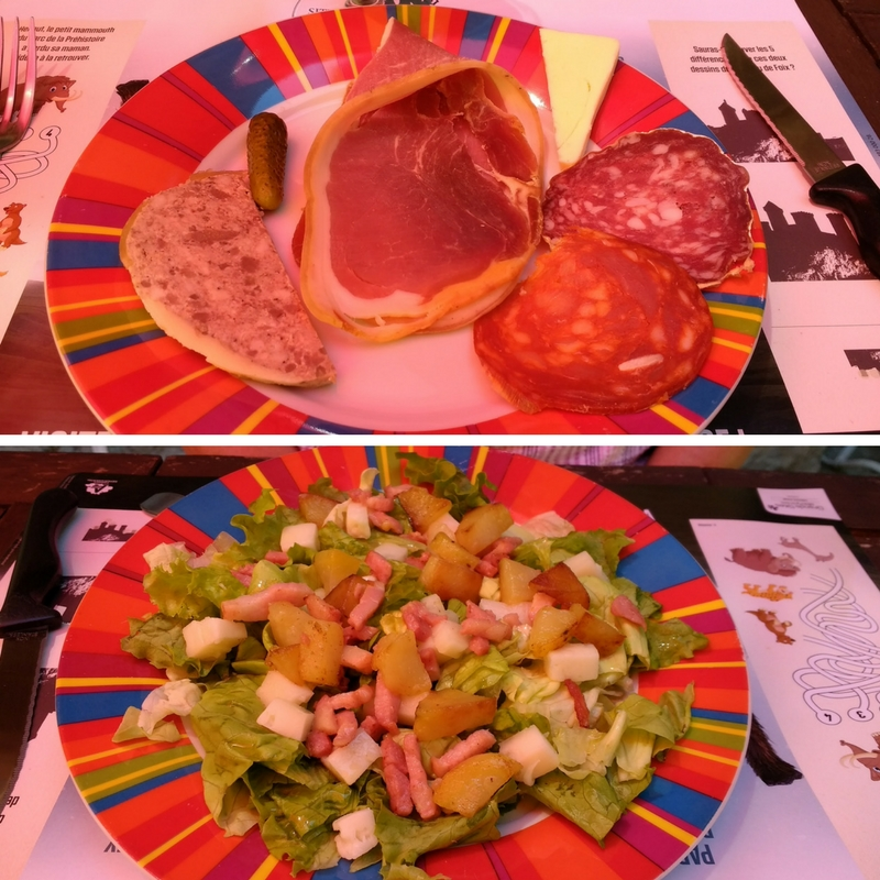 Starters of Charcuterie and Salade du Chevre