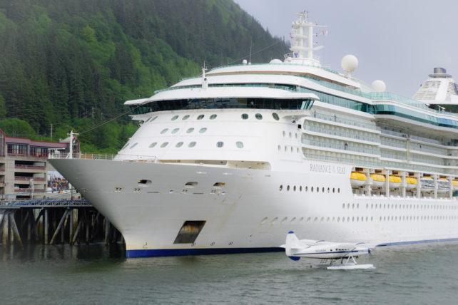 Cruise ship and sea plane in Juneau, Alaska