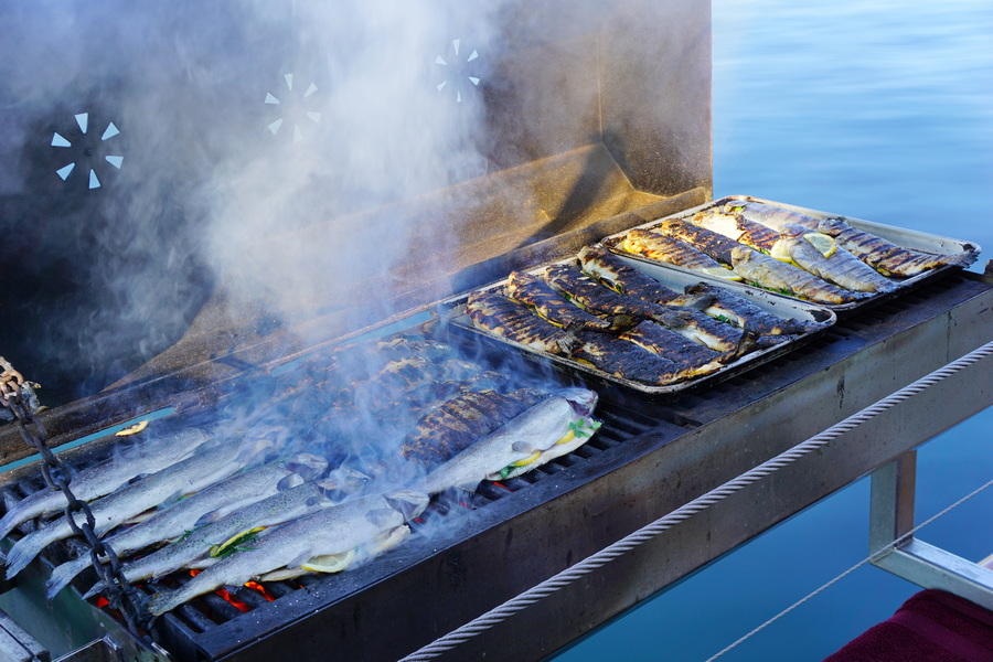 Fish being barbequed on Schooner Zodiac