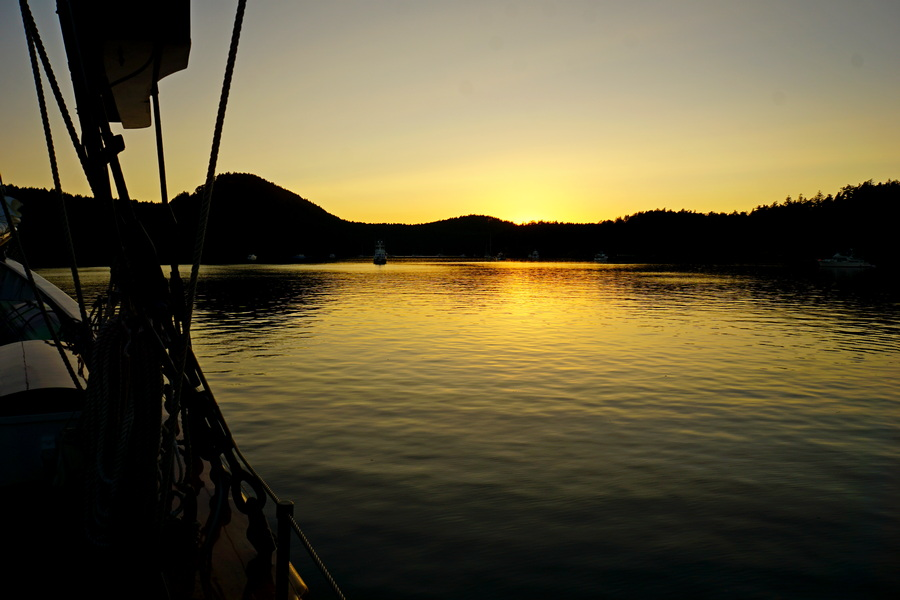 Sunset from Schooner Zodiac at Reid Harbor on Stuart Island