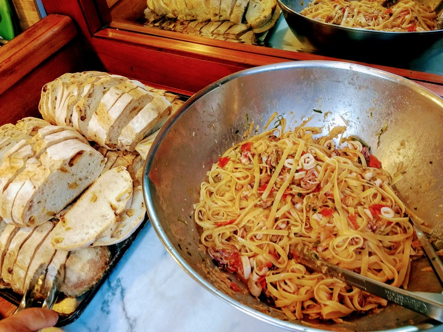 Lunch - squid pasta and garlic bread