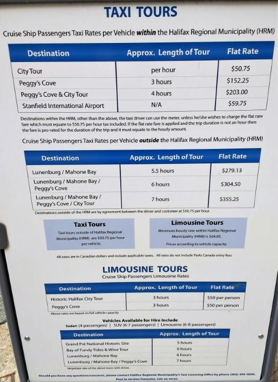 Halifax Cruise Terminal Taxi Prices