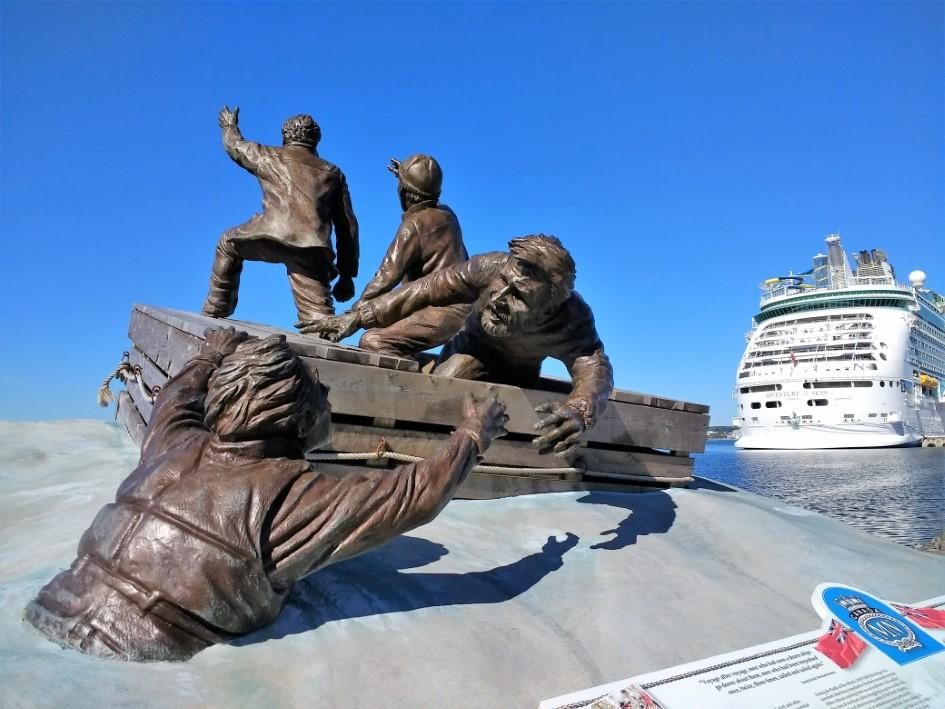 Merchant Mariner Monument on waterfront boardwalk in Sydney